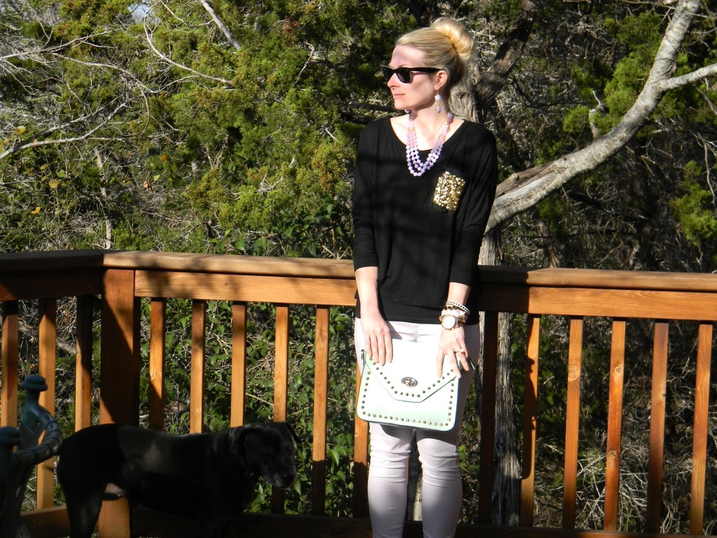 Mint purse and accessories - Charming Charlie and Kate Spade, Lavender pants - Nordstrom, black top - vintage Havana, glasses - Rayban