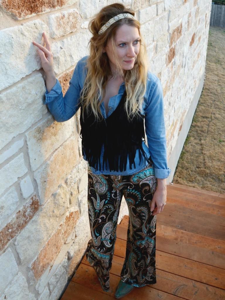 Hi Lovely fringe and chambray palazzo pants - styled