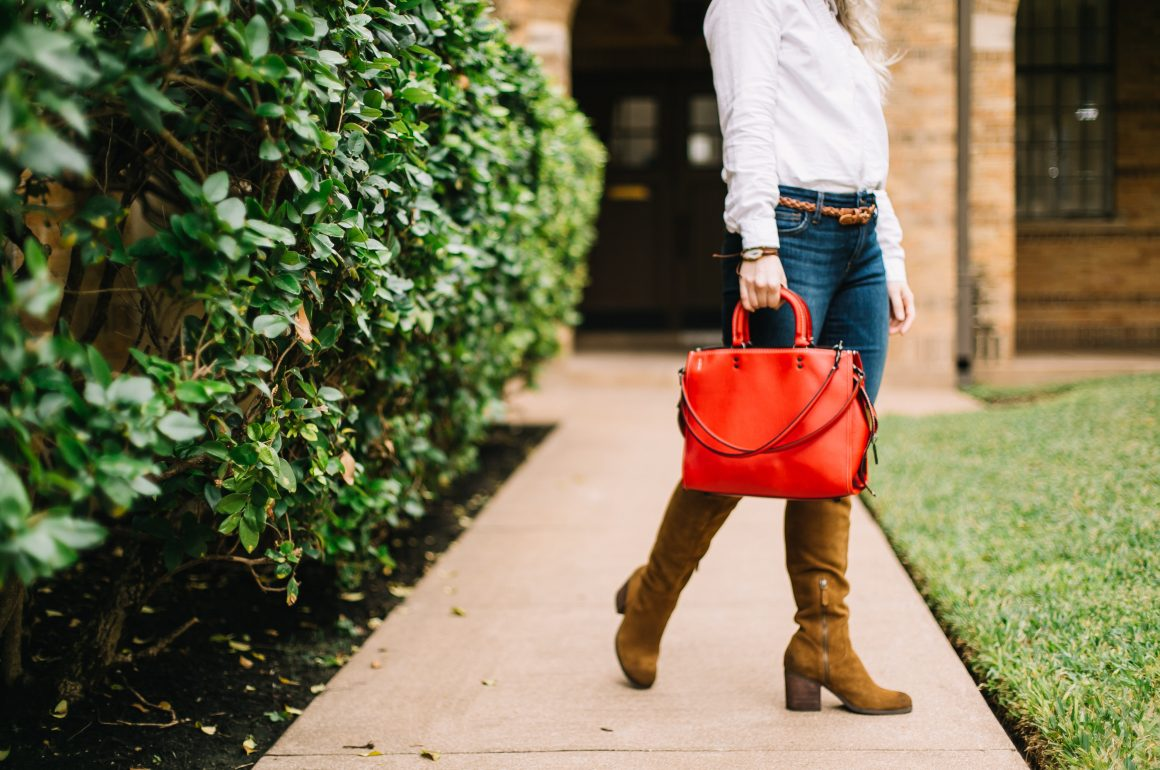 Fall Coach Bag | Hinge Over the Knee Boots | Hi Lovely