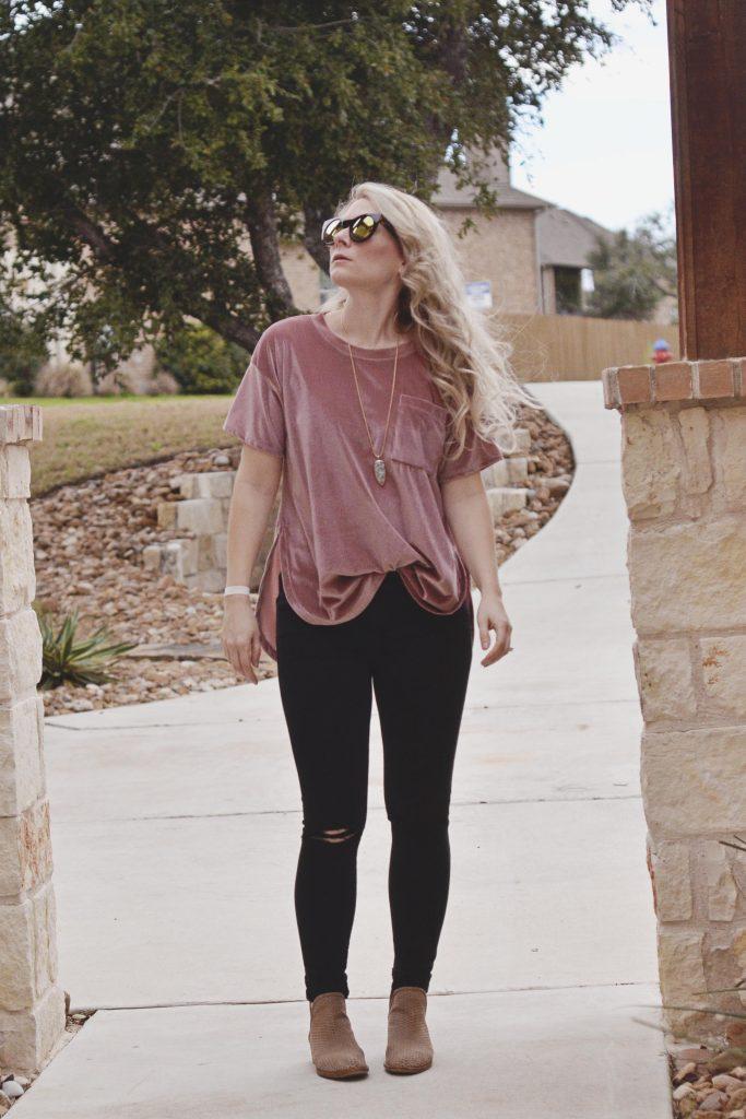 Velvet and Ripped Jeans | Hi Lovely |