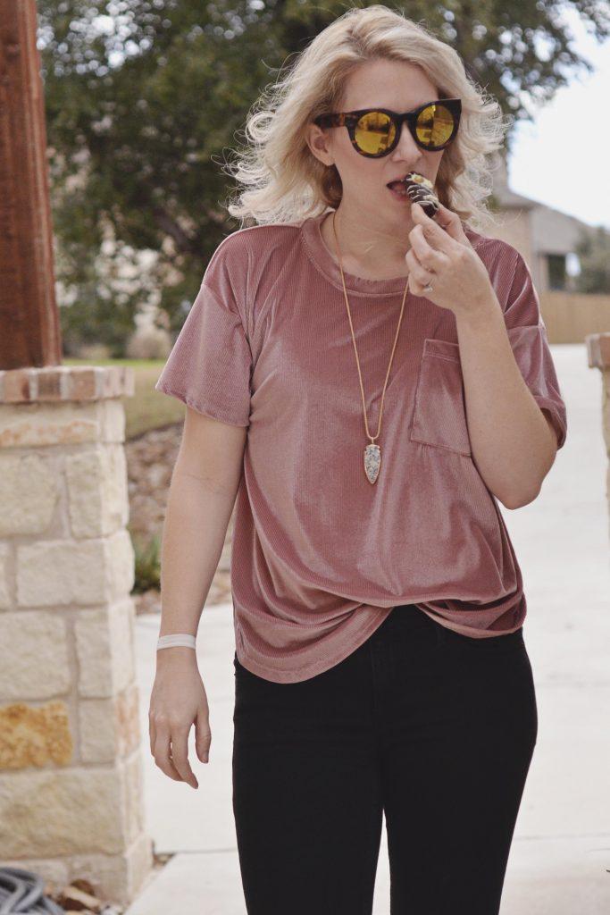Velvet and Ripped Jeans | Hi Lovely | Gold Leaf Gourmet